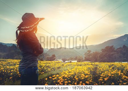 The woman stands on a field of yellow flowers. Sunset atmosphere