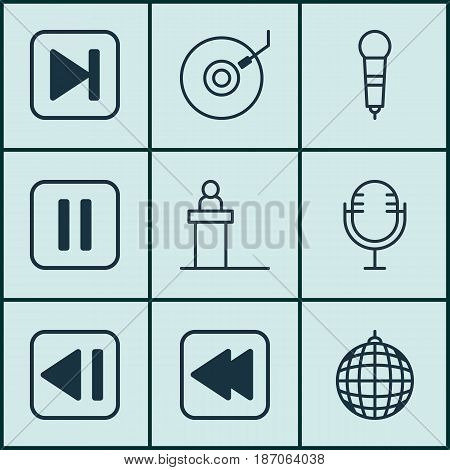 Set Of 9 Audio Icons. Includes Dance Club, Gramophone, Microphone And Other Symbols. Beautiful Design Elements.