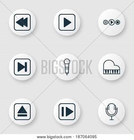 Set Of 9 Multimedia Icons. Includes Rewind Back, Mike, Song UI And Other Symbols. Beautiful Design Elements.
