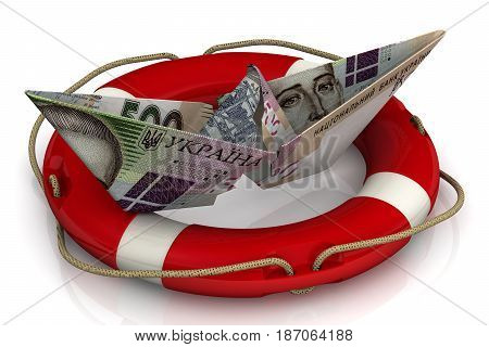 Saving the Ukrainian economy. Torn paper boat made from an Ukrainian banknote (hryvnia) in the lifebuoy on a white surface. Isolated. 3D Illustration