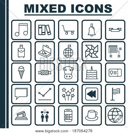 Set Of 25 Universal Editable Icons. Can Be Used For Web, Mobile And App Design. Includes Elements Such As Dessert, Credit Card, Travel Direction And More.