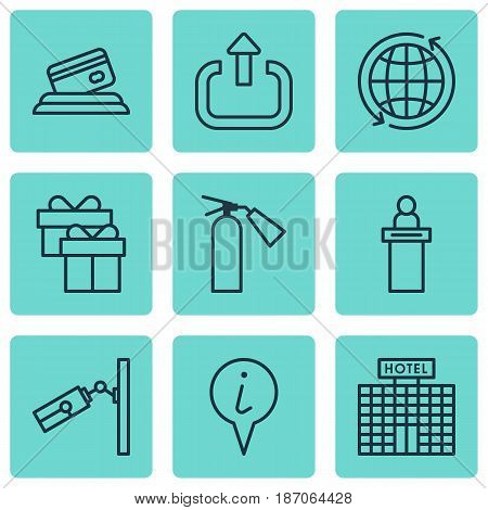 Set Of 9 Travel Icons. Includes Present, Video Surveillance, Credit Card And Other Symbols. Beautiful Design Elements.