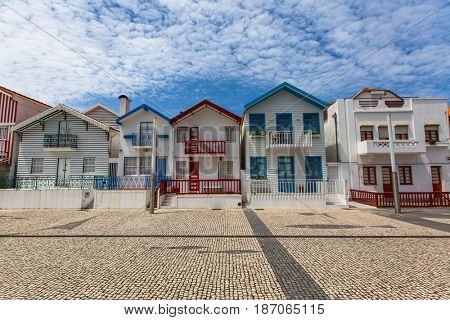 Houses with striped colored painting in Costa Nova, Portugal.