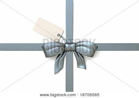 ribbon silver with blank gift tag