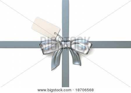 silver ribbon with blank gift tag