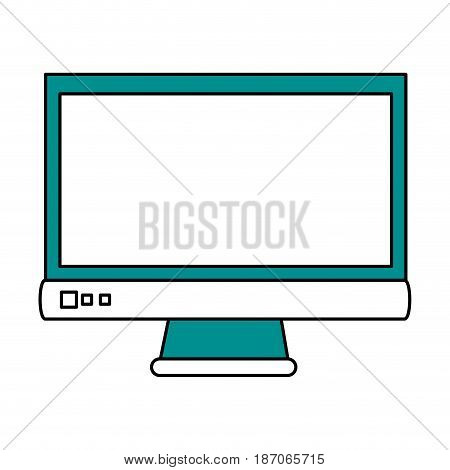 color silhouette image cartoon front view computer display with buttons vector illustration