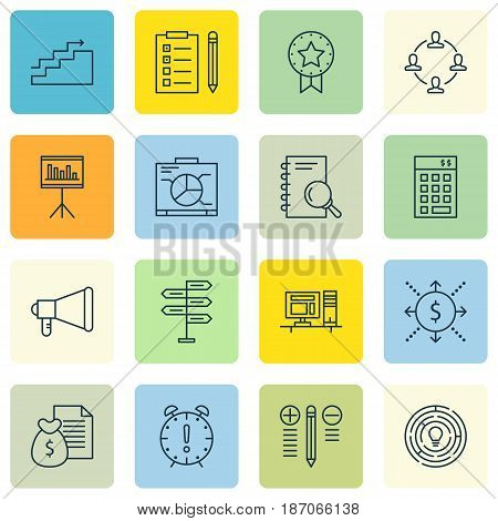 Set Of 16 Project Management Icons. Includes Board, Computer, Time Management And Other Symbols. Beautiful Design Elements.