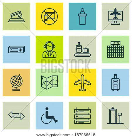 Set Of 16 Transportation Icons. Includes Credit Card, Airport Card, Crossroad And Other Symbols. Beautiful Design Elements.