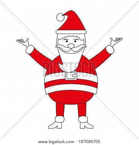 color silhouette image cartoon full body fat santa claus modern with long beard vector illustration