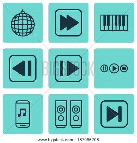 Set Of 9 Audio Icons. Includes Sound Box, Song UI, Following Song And Other Symbols. Beautiful Design Elements.