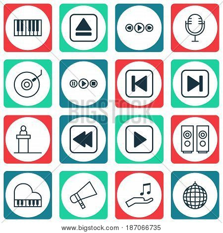Set Of 16 Multimedia Icons. Includes Bullhorn, Rostrum, Skip Song And Other Symbols. Beautiful Design Elements.