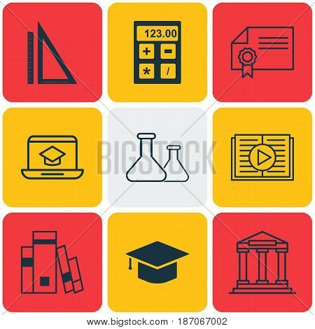 Set Of 9 Education Icons. Includes College, Library, Measurement And Other Symbols. Beautiful Design Elements.