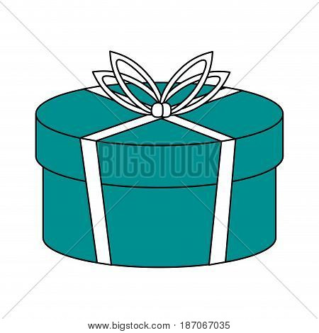 color silhouette image cartoon christmas rounded giftbox with wrapping bow vector illustration