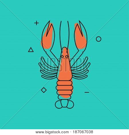 Lobster. Line contour modern trend icon, logo, card, banner seafood. Vector illustration.