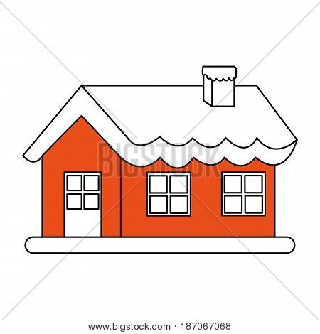 color silhouette image cartoon christmas house with snow and chimney vector illustration