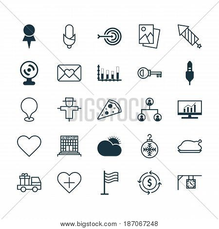 Set Of 25 Universal Editable Icons. Can Be Used For Web, Mobile And App Design. Includes Elements Such As Sunny Weather, Bugbear, Location And More.