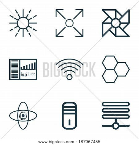 Set Of 9 Robotics Icons. Includes Wireless Communications, Information Base, Mainframe And Other Symbols. Beautiful Design Elements.