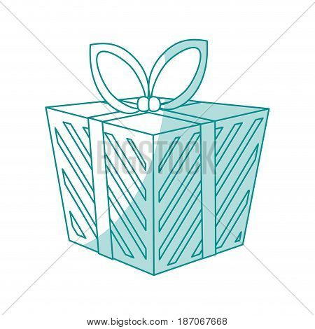 blue shading silhouette cartoon christmas giftbox with wrapping bow vector illustration