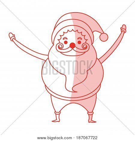 red shading silhouette cartoon full body fat santa claus vector illustration