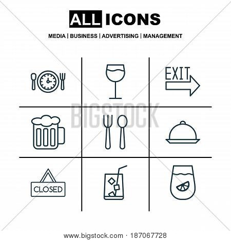 Set Of 9 Eating Icons. Includes Meal Hour, Closed Placard, Lemonade And Other Symbols. Beautiful Design Elements.