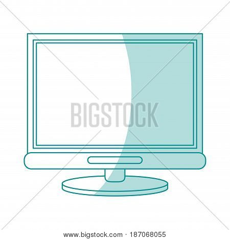 blue shading silhouette cartoon front view computer display with base vector illustration