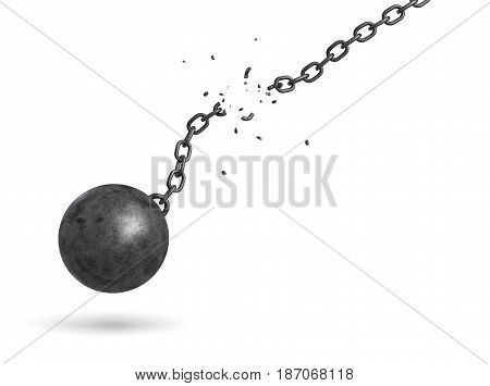 3d rendering of a black iron ball swinging and falling from a broken chain. Freedom from obligations. Unrestricted future. Broken chains.