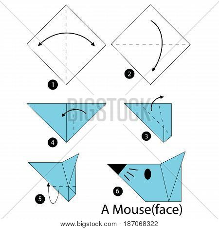 step by step instructions how to make origami A mouse.