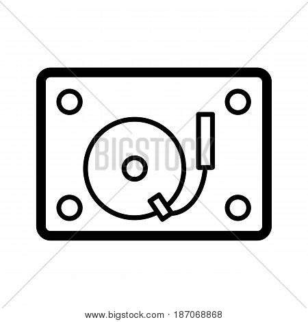 Retro radiogramophone icon. Old musical device vector illustration. Radio stereo system with recorder and record player. eps 10