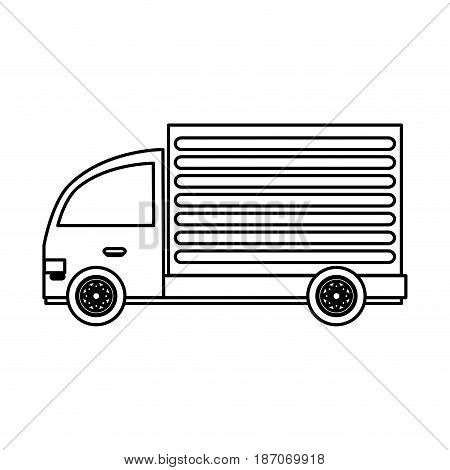 delivery or cargo truck icon image vector illustration design  single black line