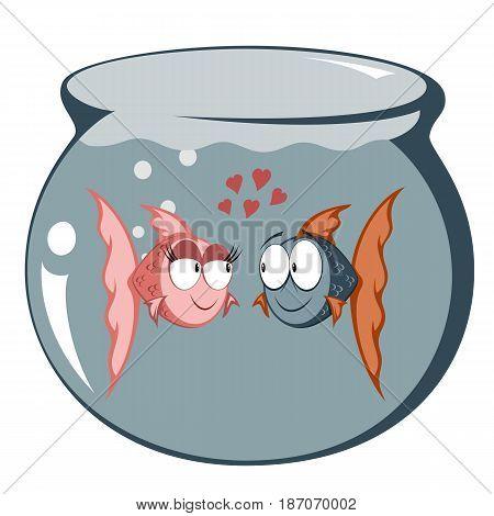 Cool cartoon goldfish couple in love (in a fish tank)