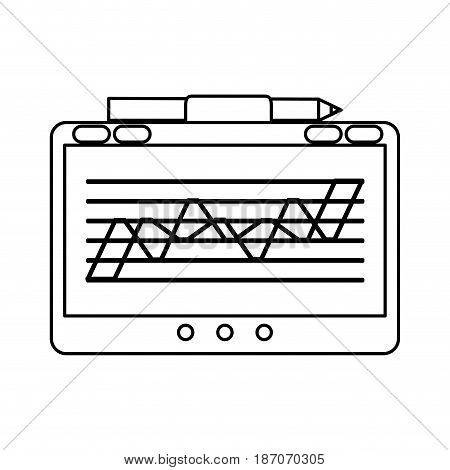 tablet with graph on screen icon image vector illustration design  single black line