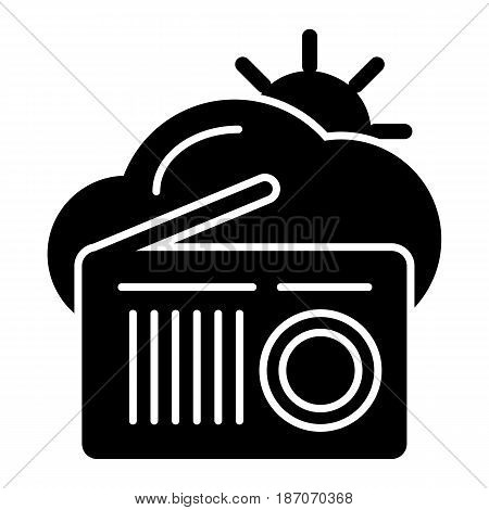Vector weather forecast for the radio. Clouds and sun and radio on white background. eps 10