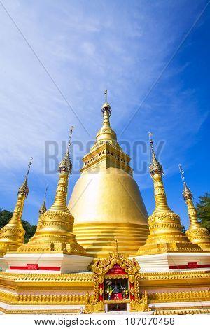 Golden pagoda at Wat Varee Banpot Wat Bang NonRanong ProvinceAncient Thai temple.