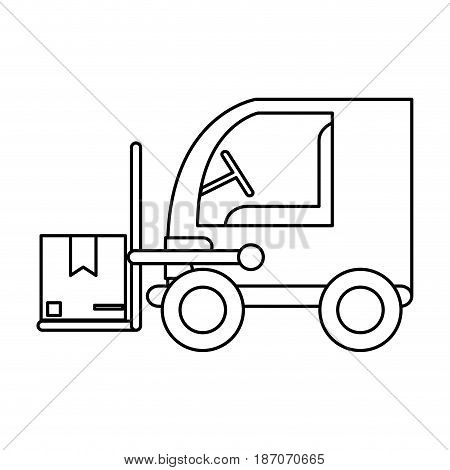 forklift with boxes icon image vector illustration design  single black line