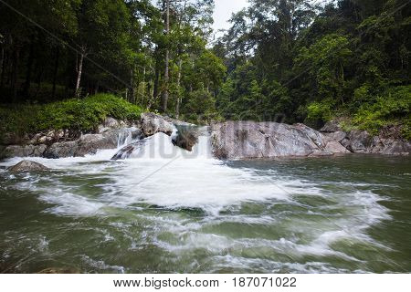 Karom waterfall is one of the attractions of Nakhon SI thammarat province. Natural background waterfall. waterfall Colorful leaves. waterfall thailand tropical
