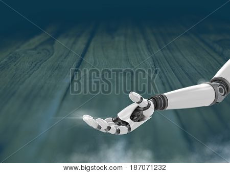 Digital composite of Android Robot hand open with blue background