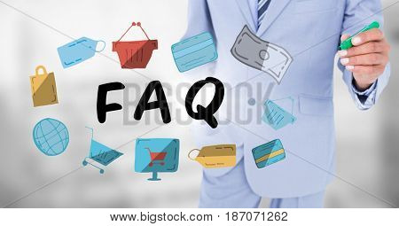 Digital composite of Business man mid section with marker behind faq doodles against blurry grey background