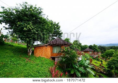 wooden villa resort exterior The resort gardens trees nature Mountain mist