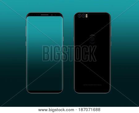 Frameless smartphone design concept. Borderless smart phone illustration. Edgeless smartphone model realistic vector.