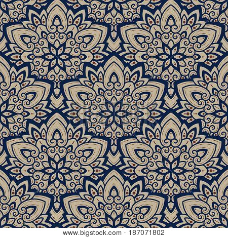 Vector seamless pattern background on the basis of a mandala design. Elegant luxury texture for wallpapers, backgrounds and page fill.