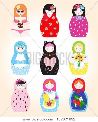 Traditional russian matryoshka nesting doll toy set with handmade ornament figure pattern with child face and babushka woman souvenir painted doll vector illustration. Ffamily puppet gift
