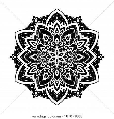 Mandala Round Ornament Pattern. Boho vintage style vector background. Hand drawn design. Ethnic motifs.