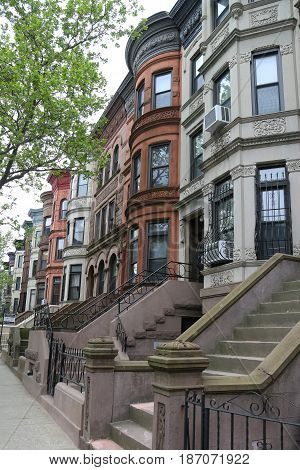 BROOKLYN, NEW YORK - MAY 11, 2017: New York City brownstones at historic Prospect Heights neighborhood. Prospect Heights is an affluent residential neighborhood within the New York borough of Brooklyn