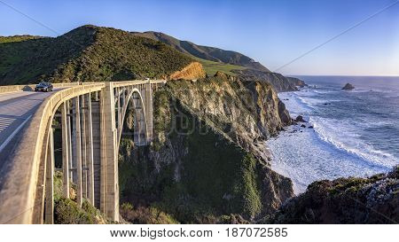 View from the Bixby Bridge shore line near Big Sur