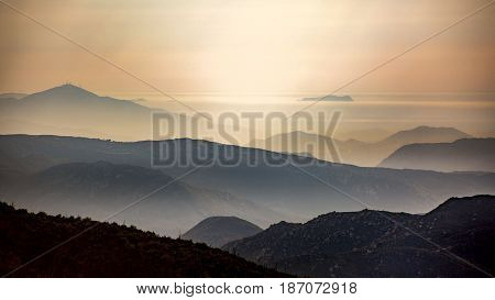 The view of the mountains surround lake Cuyamaca looking toward the city of San Diego