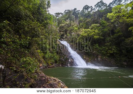 Yong Waterfall National Park is one of the attractions of Nakhon SI thammarat province Thailand. Natural background waterfall. waterfall Colorful leaves. waterfall thailand tropical