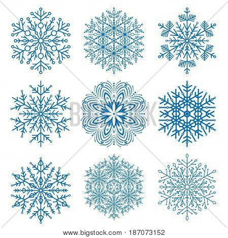 Set of vector blue snowflakes. Fine winter ornament. Snowflakes collection. Snowflakes for backgrounds and designs