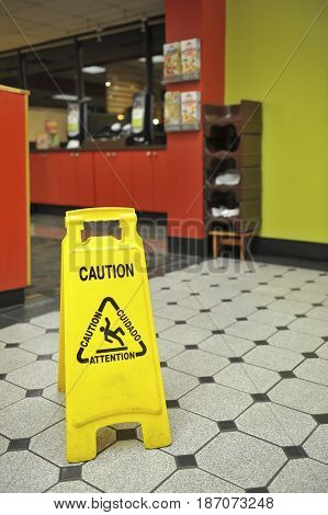 Restaurant Wet Floor Sign