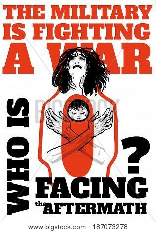 International Day of Innocent Children Victims of Aggression June 4. Pacifist poster with a weeping woman holding a dead baby. Symbol of civilians suffering from military conflicts