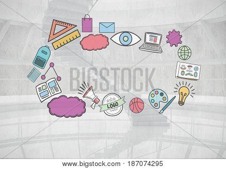 Digital composite of Composite image of digital drawings